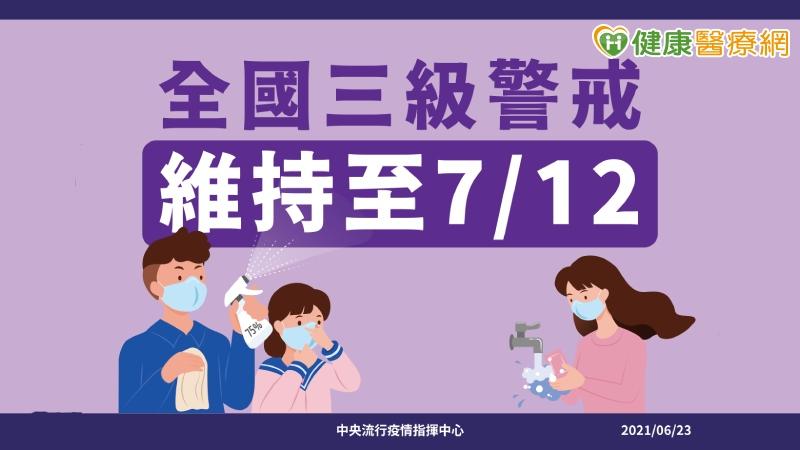 指揮中心宣布:第三級警戒延至7月12日